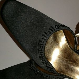 """Nine West Beaded Black Ankle Strap 4"""" Heels"""
